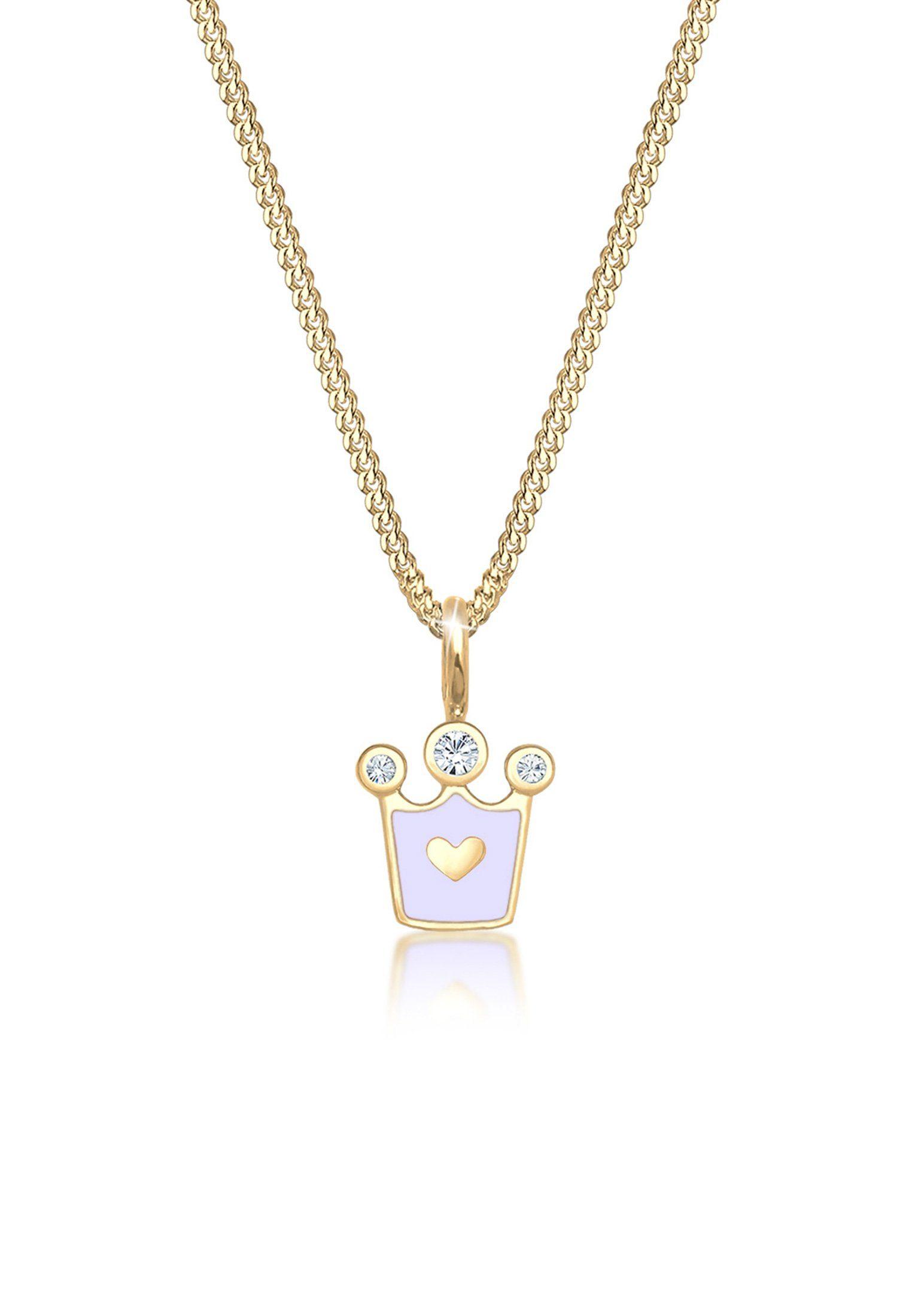 Elli Halskette »Kinder Herz Krone Swarovski® Kristalle Silber«