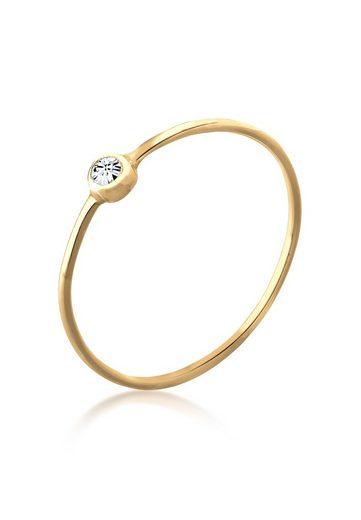 Elli Ring »Solitär Stapelring Swarovski® Kristalle Silber«