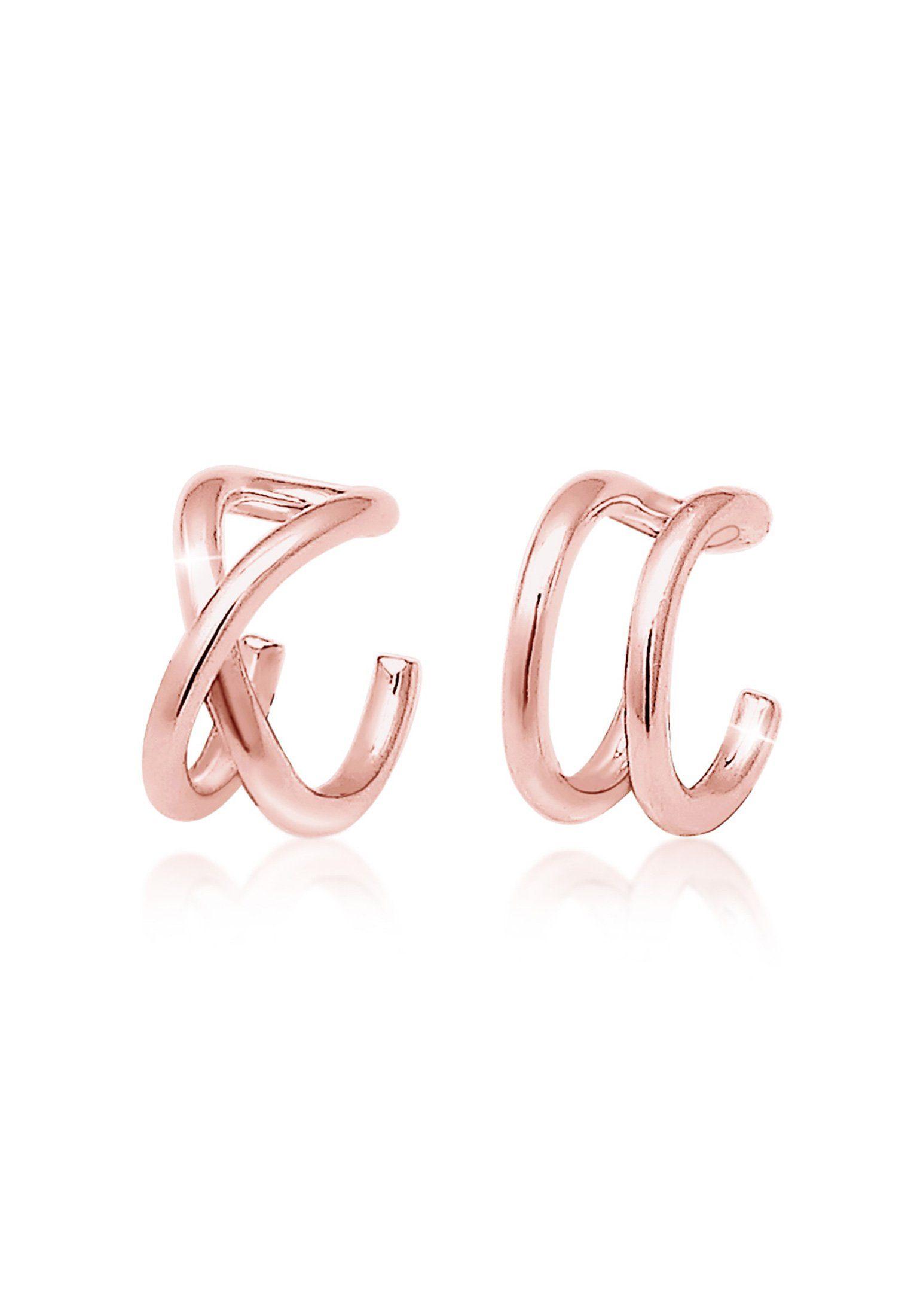 Elli Ohrringe »Earcuff Klemme Set Geo Basic 925er Silber rosé«
