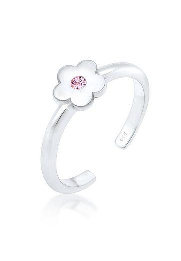 Elli Fingerring »Kinder Blume Kristall 925 Silber«