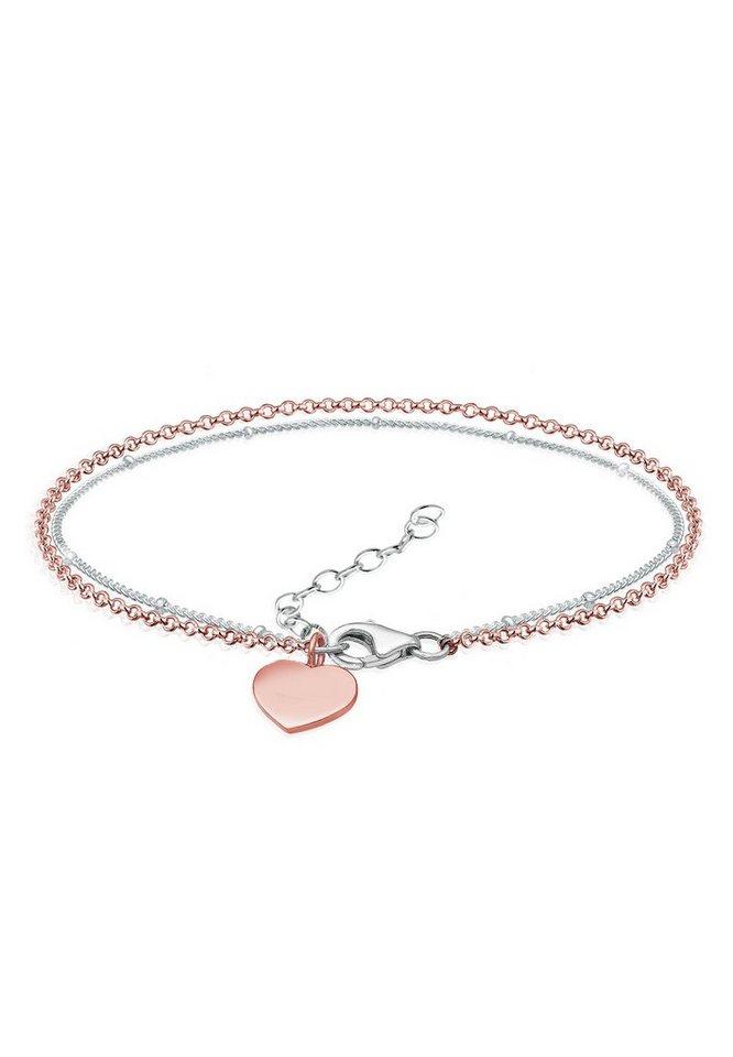 Elli Armband »Bi-Color Layer Herz Love 925er Sterling Silber« | Schmuck > Armbänder > Silberarmbänder | Elli
