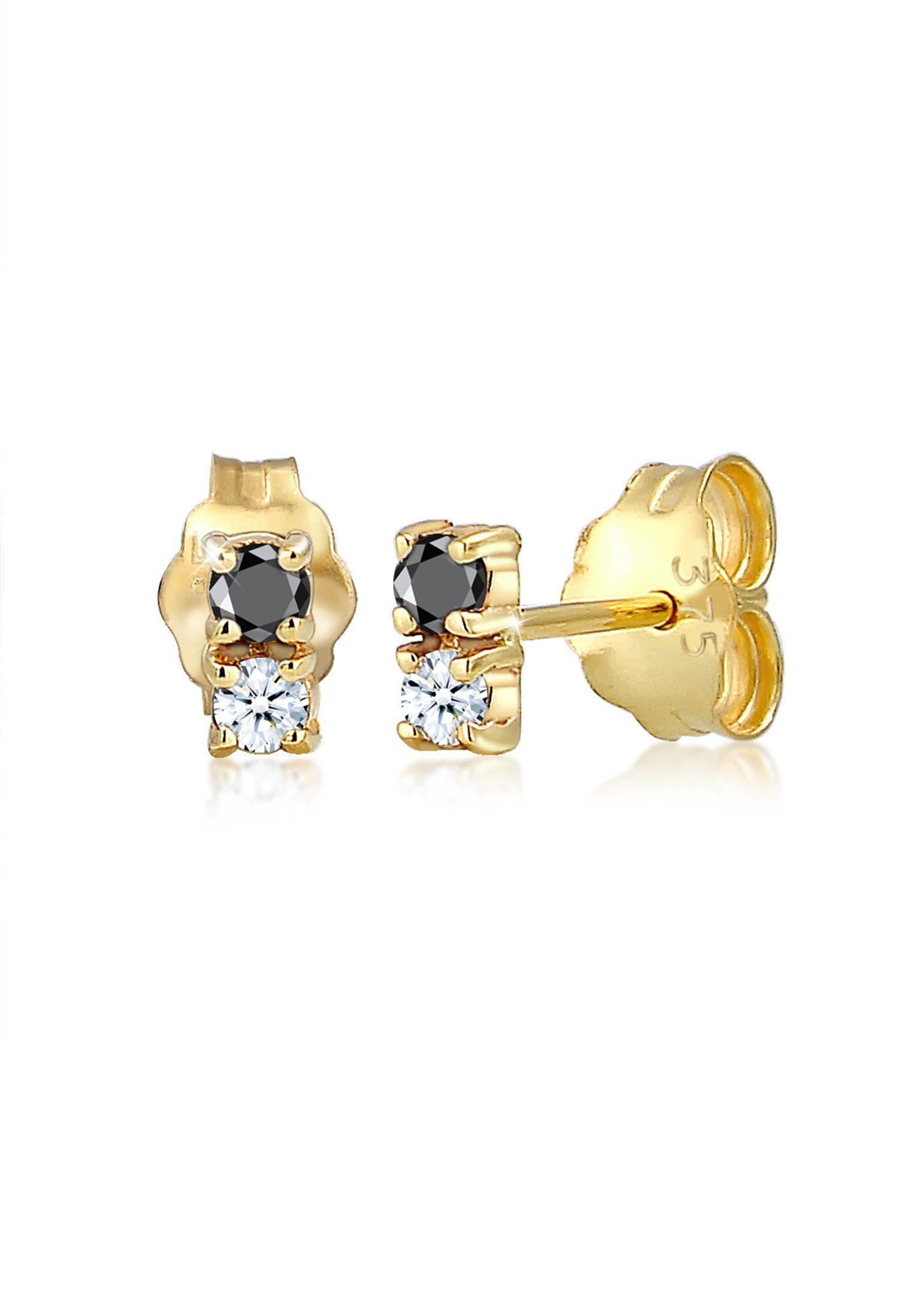 Elli Paar Ohrstecker »Bi-Color Schwarz Weiß Diamant (0.12 ct) 375er Gold«