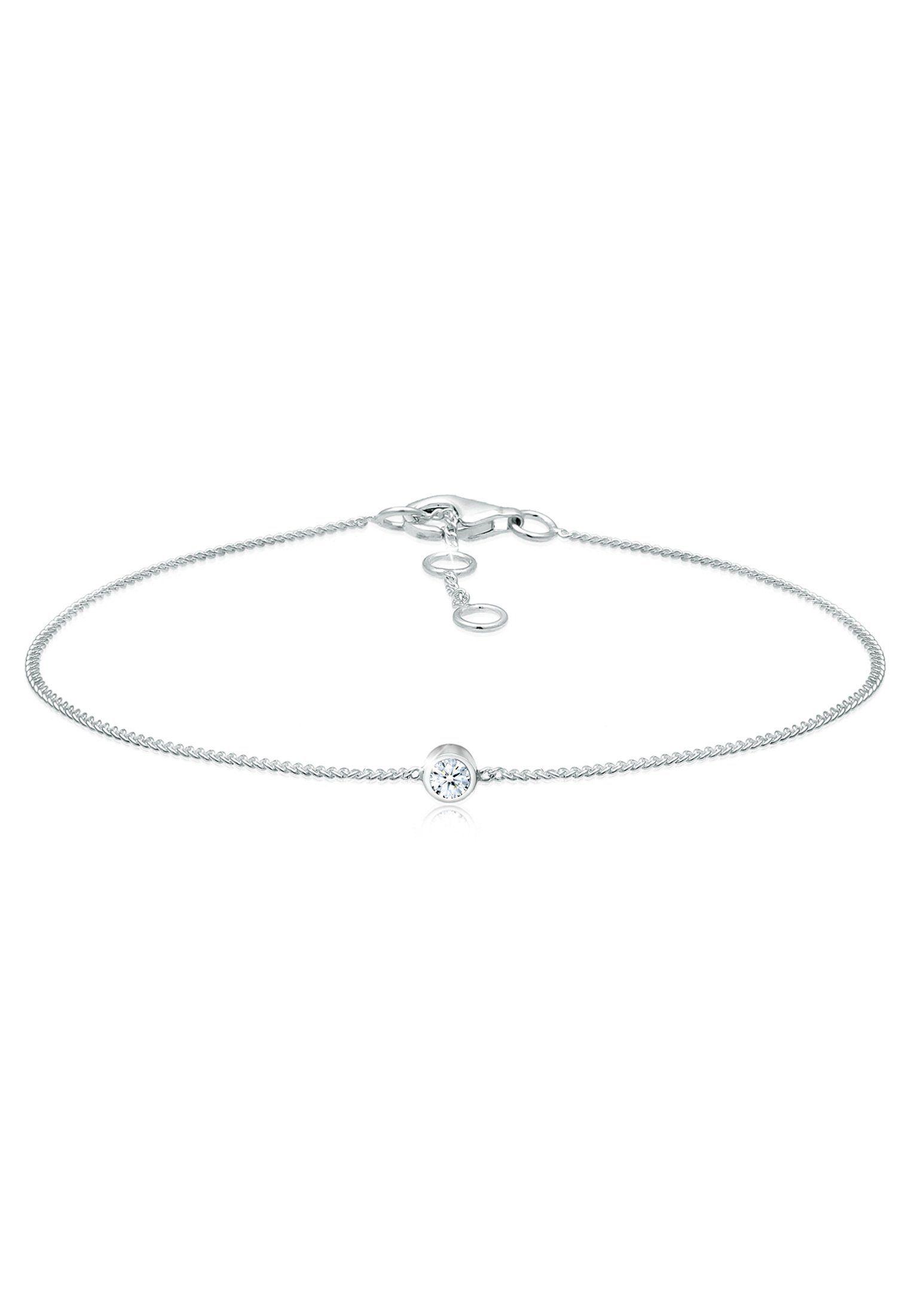 Diamore Armband »Solitär Panzerkette Diamant (0.06 ct) 925 Silber«