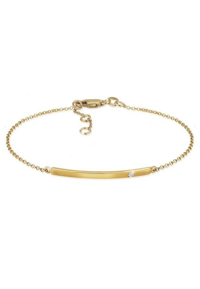 Diamore Armband »Erbskette Geo Stab Diamant (0.02 ct) 375 Gelbgold«   Schmuck > Armbänder > Goldarmbänder   Goldfarben   Diamore