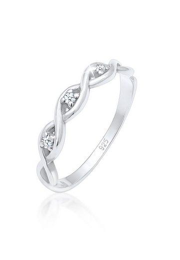 Elli Diamantring »Knoten Unendlich Diamant (0.045 ct) 925er Silber«