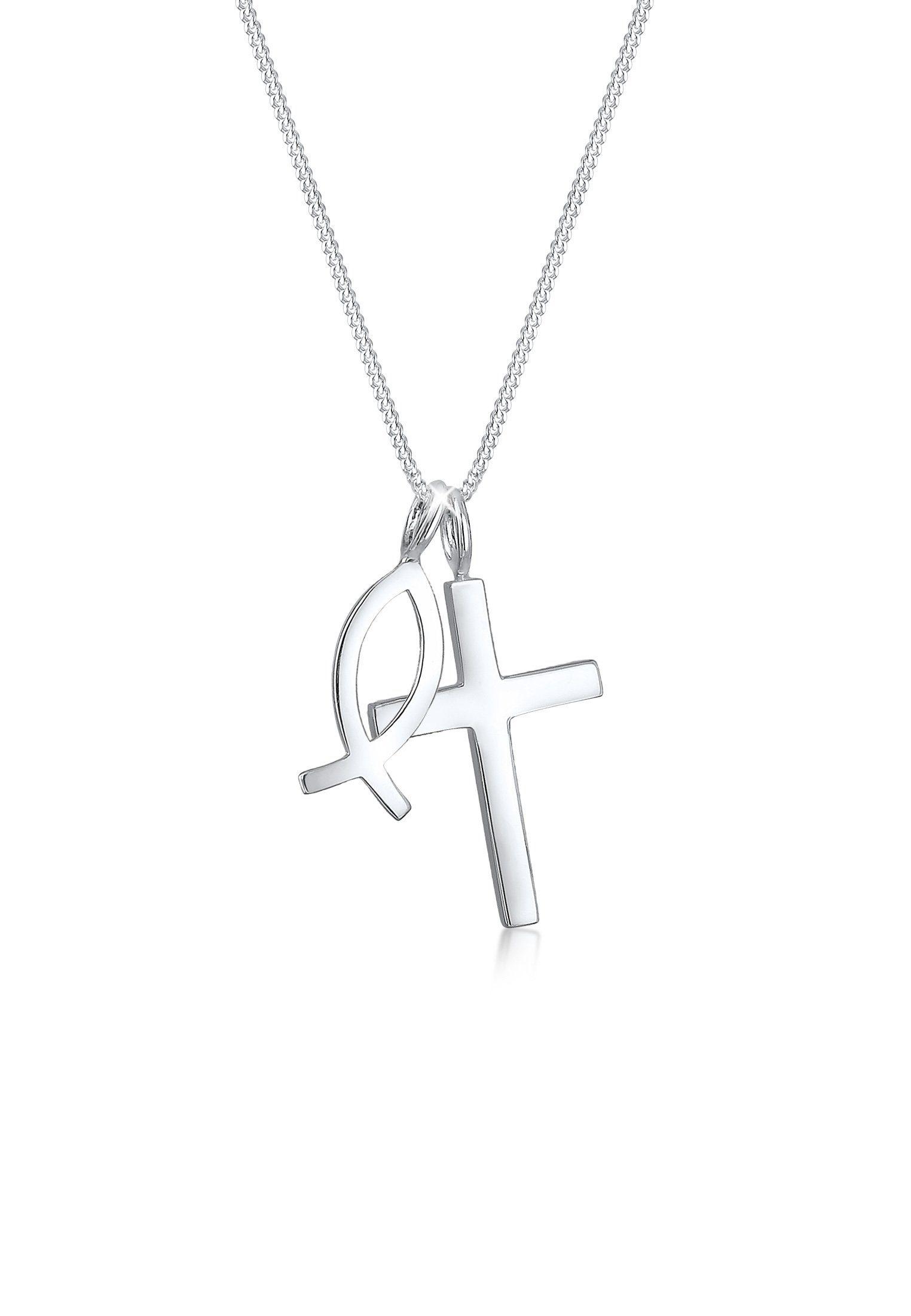 Elli Collierkettchen »Panzerkette Kreuz Fisch Symbol Religion 925 Silber«