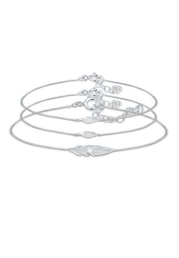Elli Armband Set »Feder Mutter Kind Panzerkette 3 teilig 925 Silber«