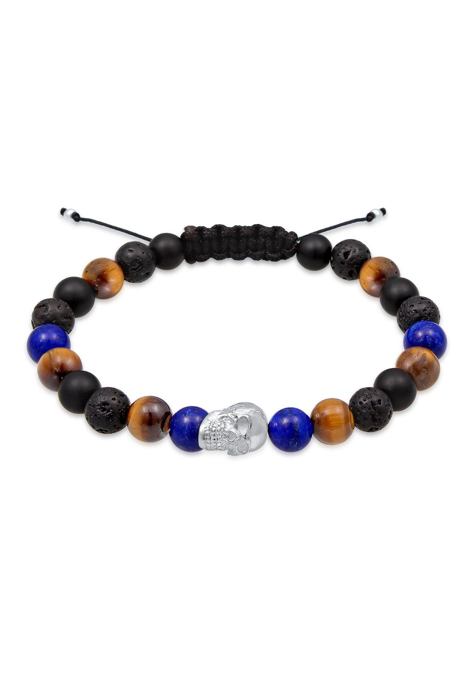 Paulo Fanello Armband »Skull Tigerauge Onyx Lava Lapis Lazuli 925 Silber«