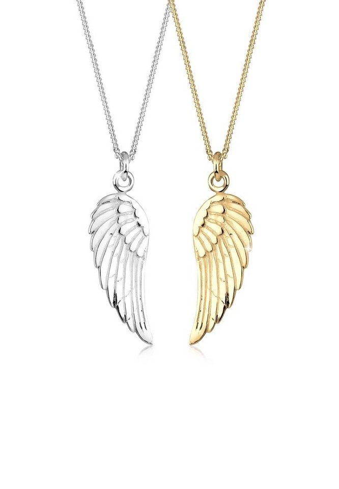 de056cd4cf Elli Ketten-Set »Partnerkette Friends Flügel Bi-Color 925er Silber ...