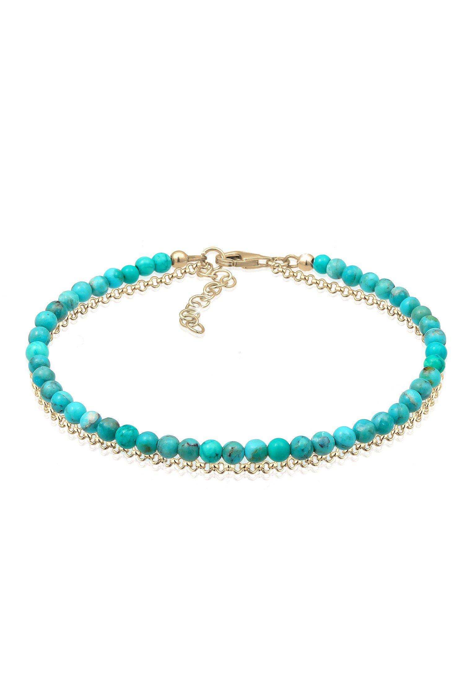 Elli Armband »Layer Howlith Edelstein Beads Boho 925er Silber«