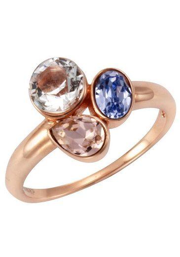 Firetti Fingerring »rundes, ovales und tropfenförmiges Element« mit Kristallsteinen