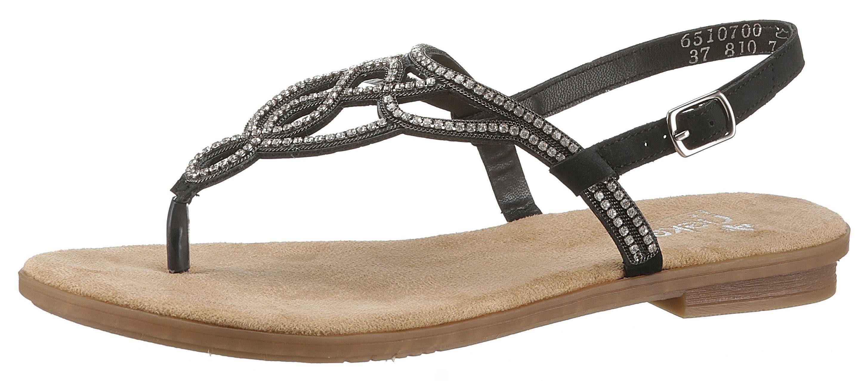 RIEKER Sandale mit Perlen Verzierung in marine