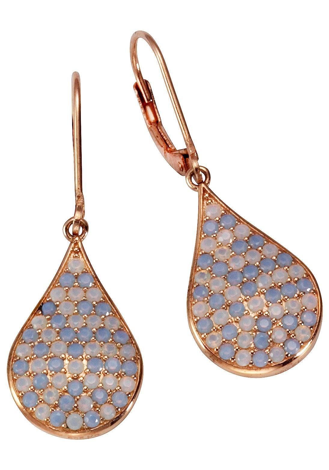 Firetti Paar Ohrhänger mit Glassteinen, mehrfarbig, Tropfenform