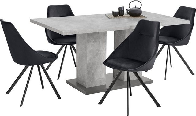 Essgruppen - Homexperts Essgruppe »Nela Tavia«, (Set, 5 tlg), Tisch Breite 160 cm 4 Stühle  - Onlineshop OTTO
