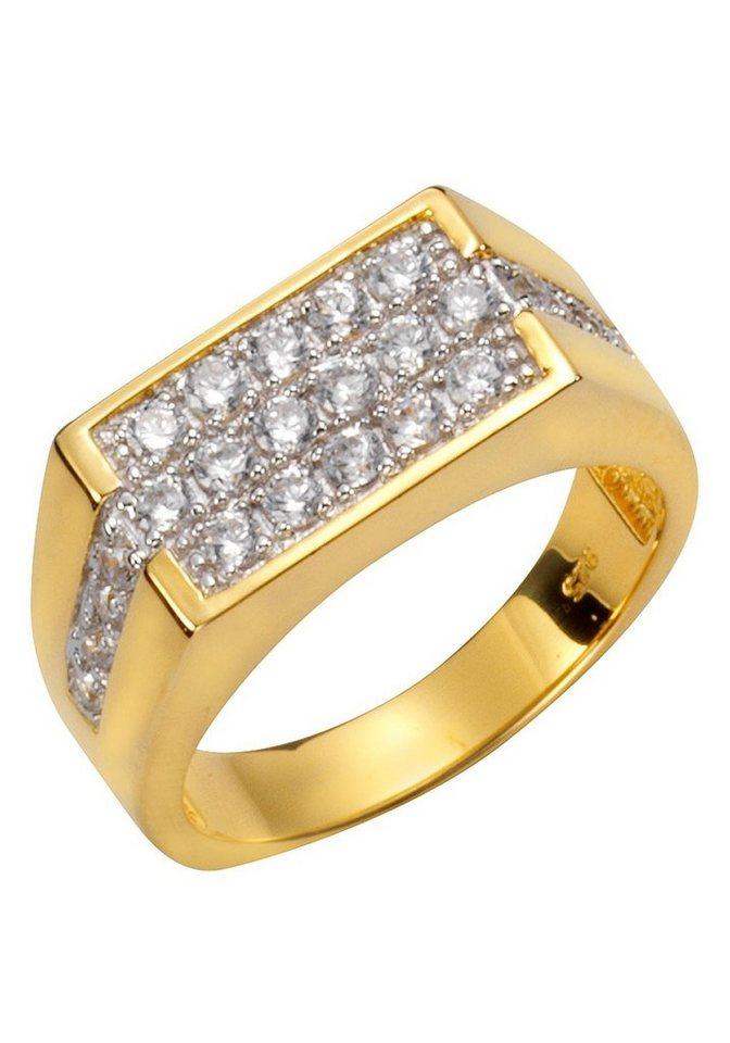 Herren Firetti Siegelring mit Zirkonia in zentraler Platzierung gold | 04006046310116