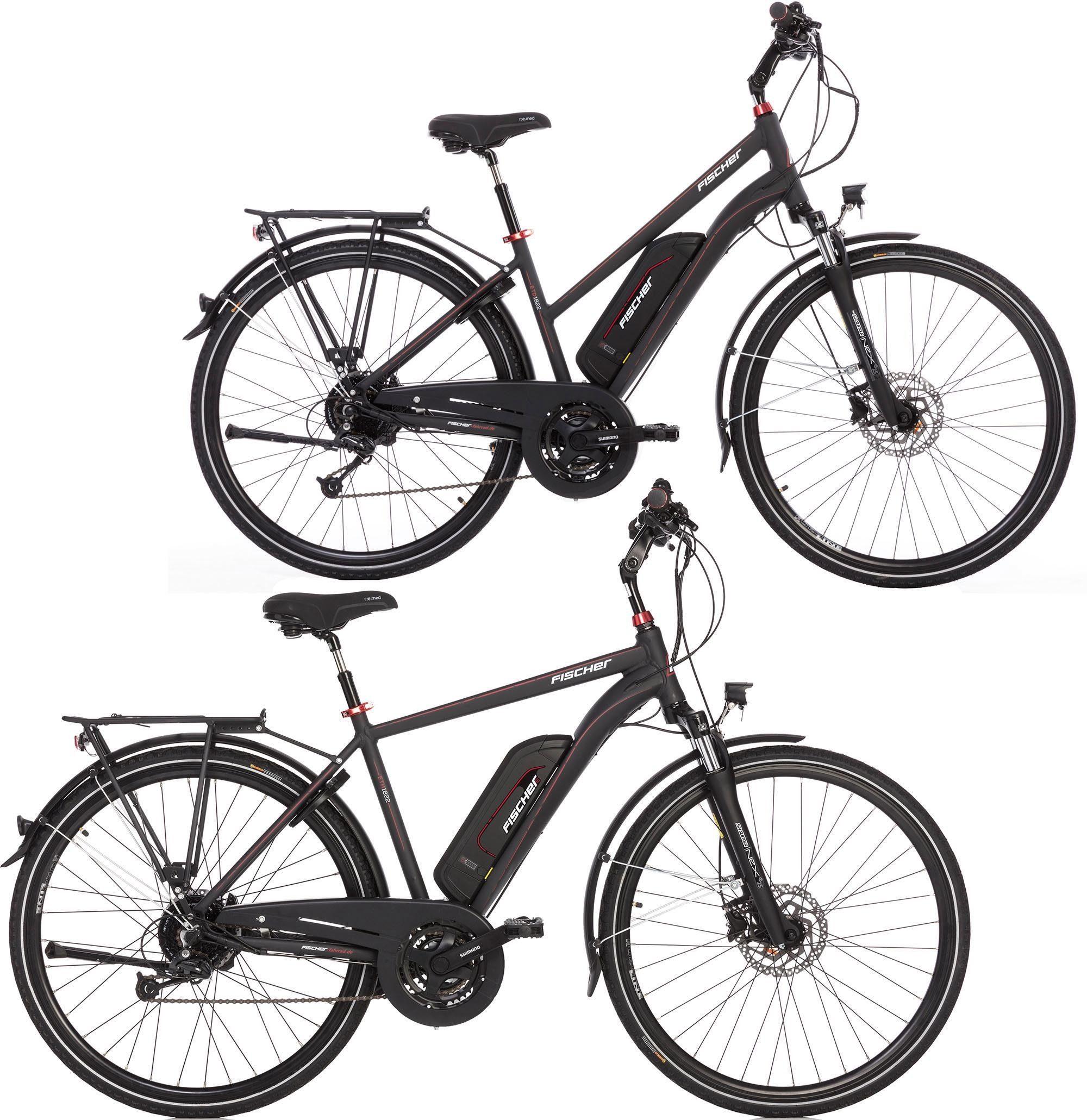 Fischer Fahrräder E-Bike »ETD/ETH 1822«, 24 Gang Shimano Deore Schaltwerk, Kettenschaltung, Heckmotor 250 W, (Spar-Set)