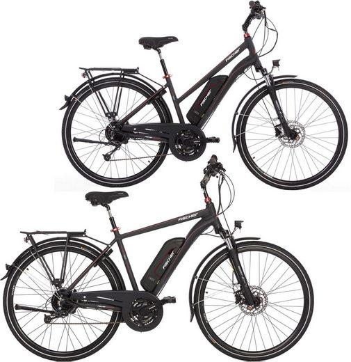 FISCHER Fahrräder E-Bike »Partnerset ETD/ETH 1822«, 24 Gang Shimano Deore Schaltwerk, Kettenschaltung, Heckmotor 250 W, (Spar-Set, 2 tlg)