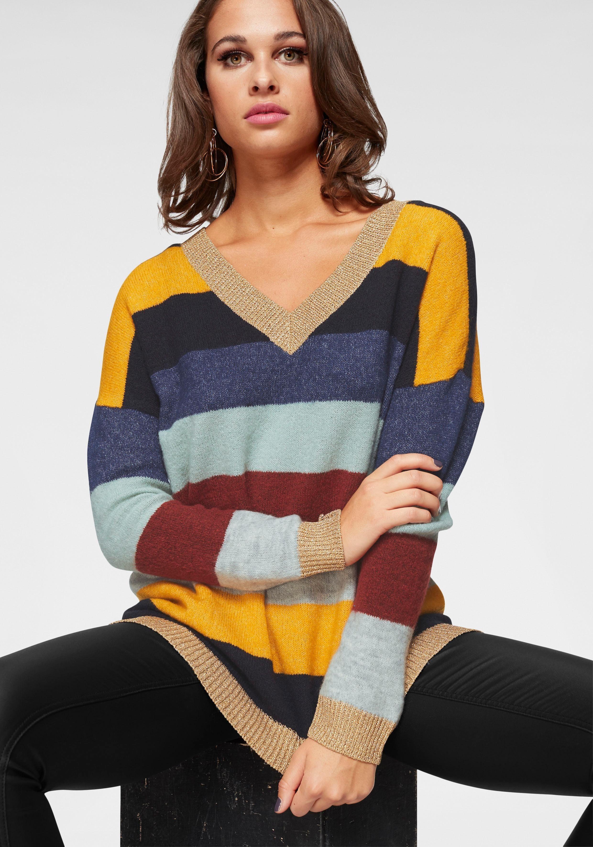 Only V-Ausschnitt-Pullover »RAINBOW«