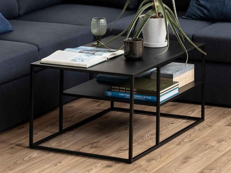 möbelando Couchtisch »New Haven II«, rechteckig in schwarz mit 1 Ablageboden - B/H/T ca. 90 x 45 x 60 cm