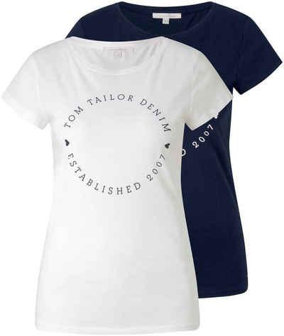 TOM TAILOR Denim T-Shirt (Set, 2-tlg., 2er-Pack) mit Logo Aufdruck