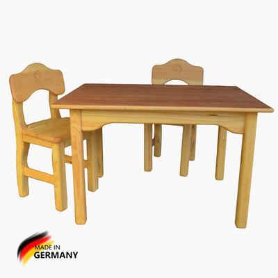 Madera Spielzeuge Kindersitzgruppe »Kindersitz Gruppe Madera Tisch und Stuhl«, (Spar Set, 3-tlg., 1 Tisch und 2 Stühle aus Massivholz), Made in Germany
