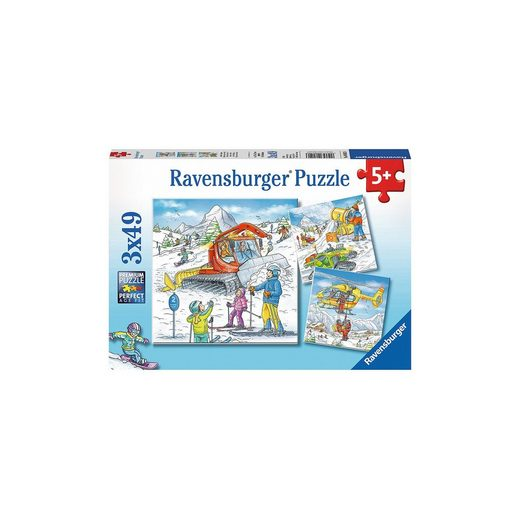 Ravensburger 3er Set Puzzle, je 49 Teile, 21x21 cm, Auf der Skipiste
