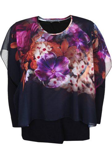 Doris Streich Shirtbluse »mit buntem Layer« Blumenmuster