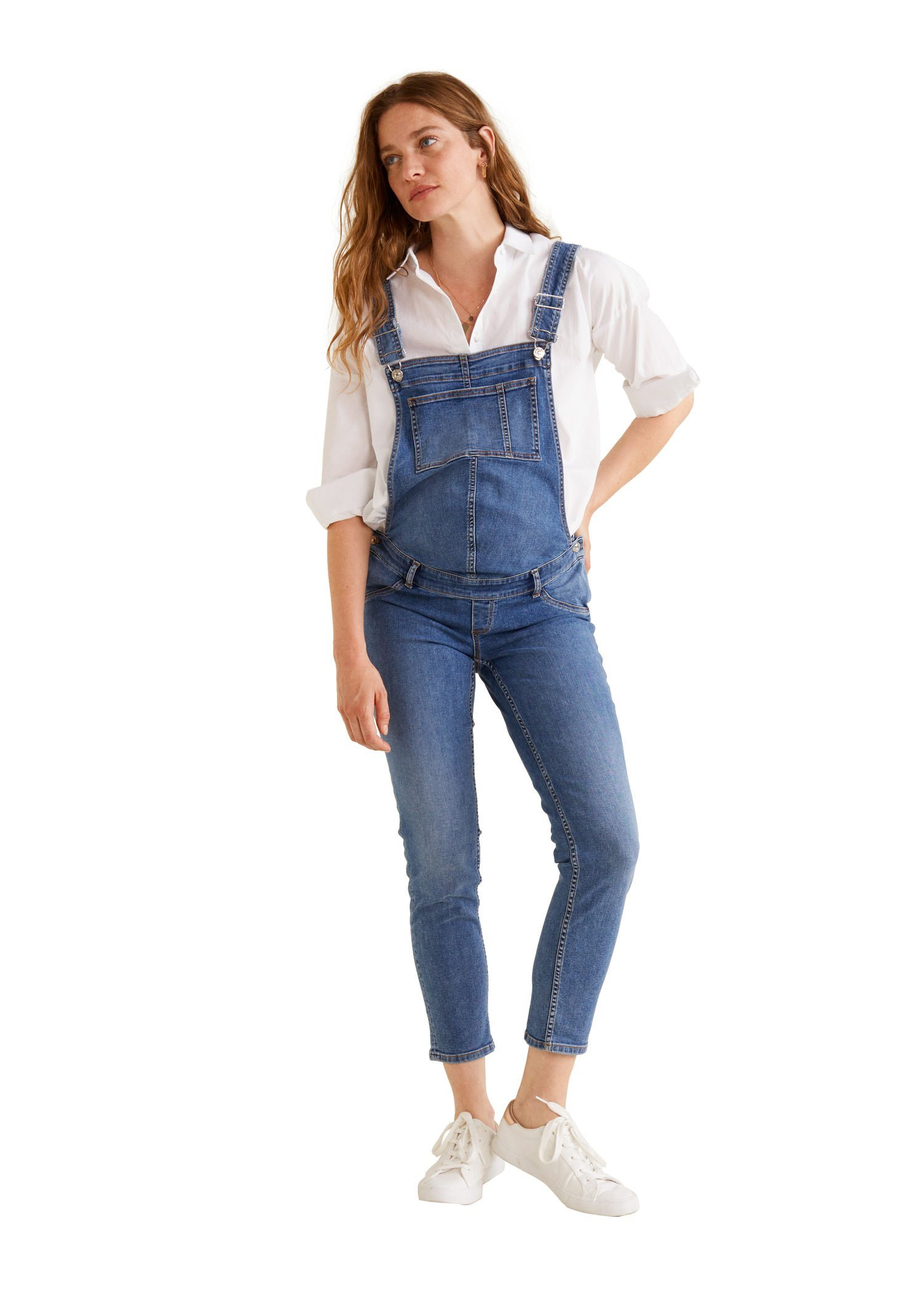 mango -  Jeans-Latzhose mit Kontrastnähten