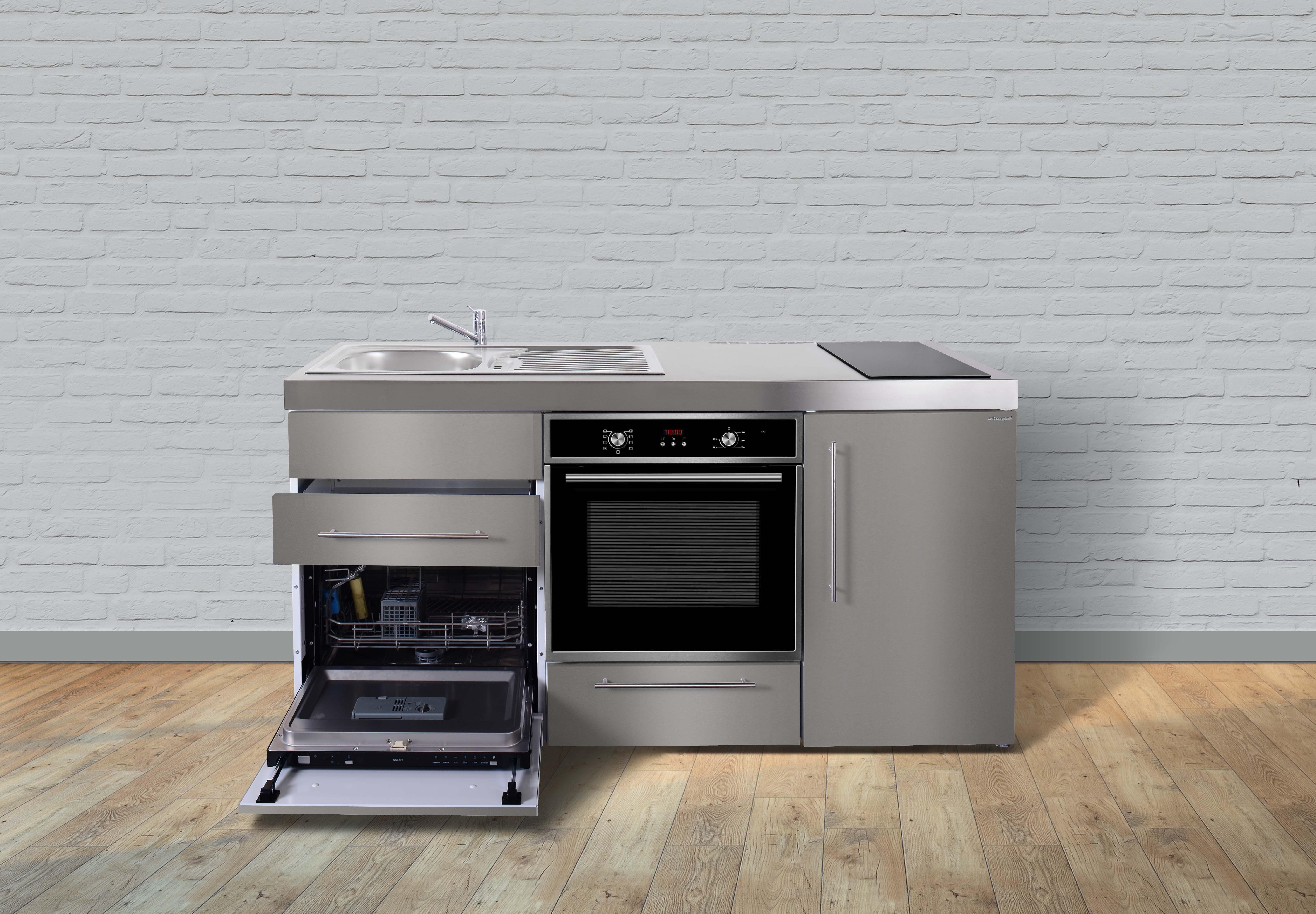 Miniküche Mit Kühlschrank Und Geschirrspüler : Stengel metall miniküche premiumline mpbgs kühlschrank