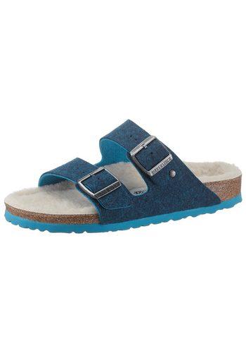 Damen Birkenstock Arizona Pantolette in schmaler Schuhweite, mit kuscheliger Innensohle blau   04044477443850