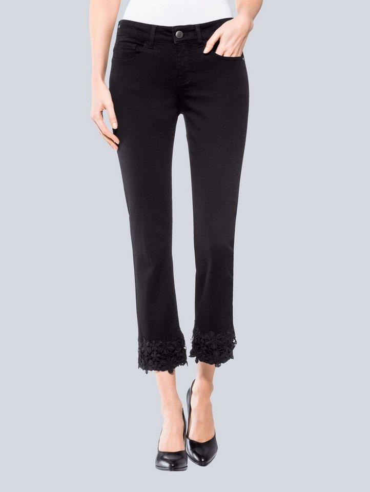 Damen Alba Moda Jeans mit Spitzenbordüre am Saum schwarz | 04055717236705