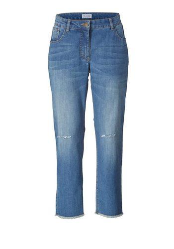 Damen Angel of Style by Happy Size Slim Fit Jeans middle blue denim blau | 04055715180093