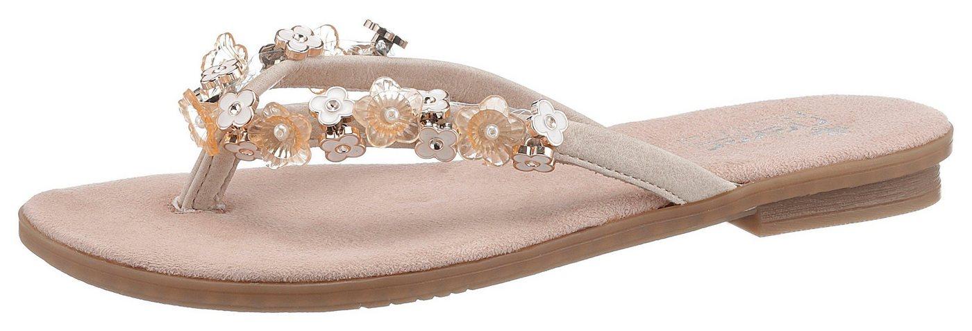 Rieker Zehentrenner mit angesagter Blüten-Verzierung | Schuhe > Sandalen & Zehentrenner > Zehentrenner | Weiß | Rieker