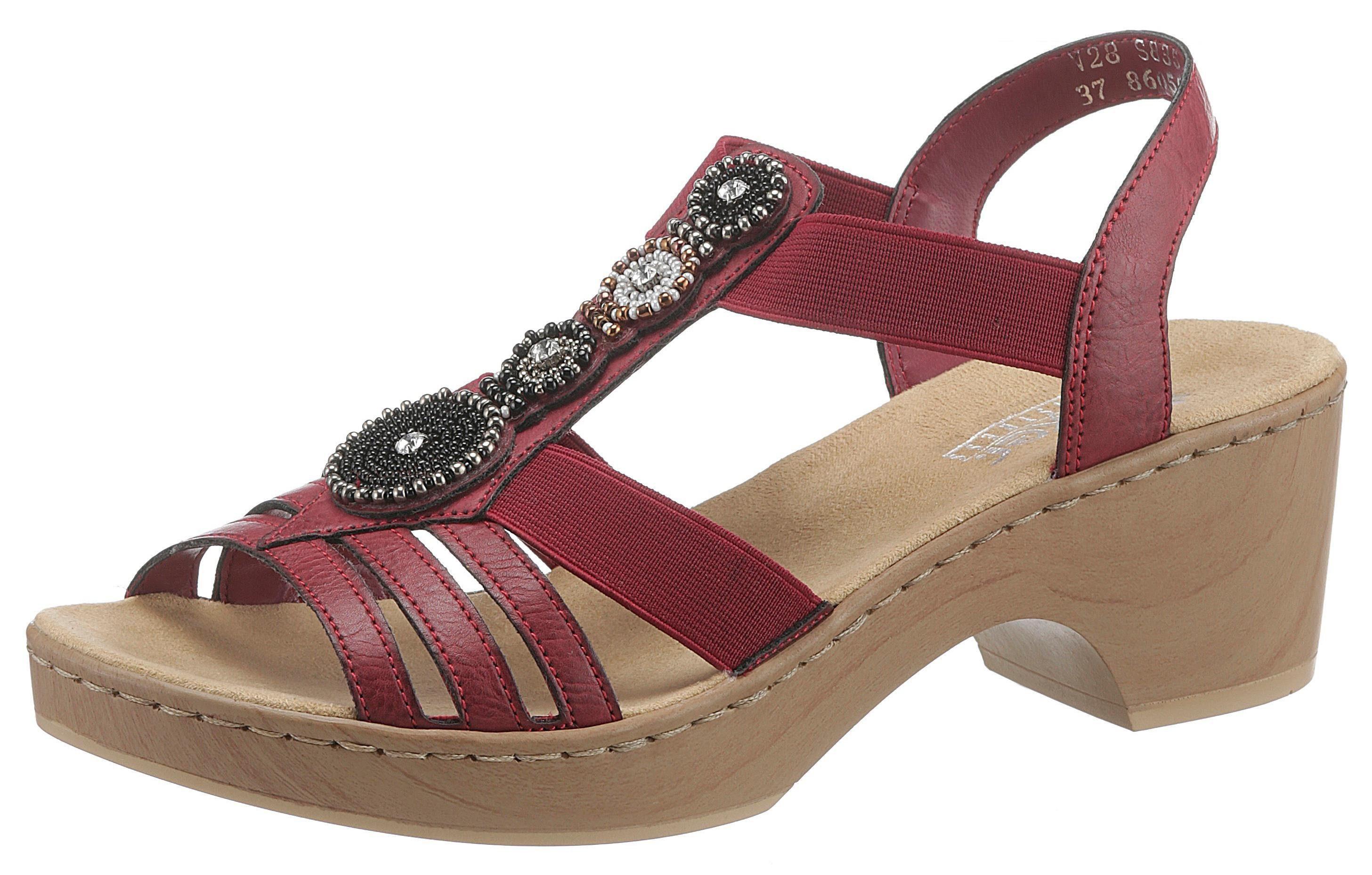 Rieker Sandalette mit Elastikbänder, In eleganter Optik, mit Zierperlen online kaufen | OTTO