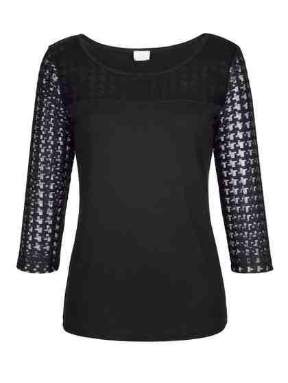 Alba Moda Shirt mit Hahnentritt Muster