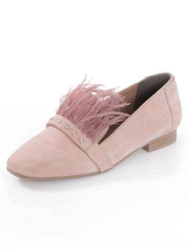 Damen Alba Moda  Trotteur mit stylischem Federbesatz rosa | 04055717215083