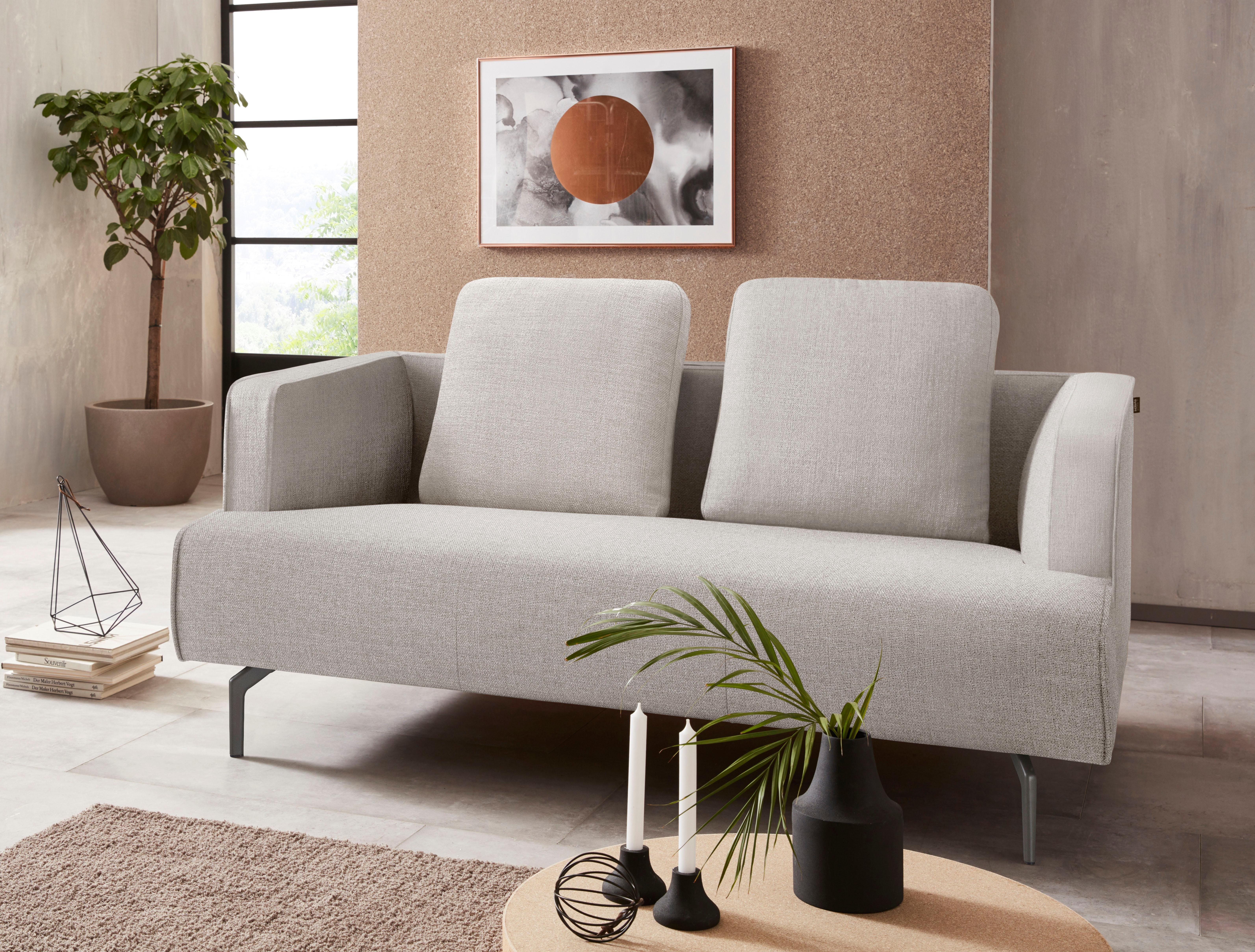 Hülsta Sofa 2 Sitzer Sofa »hs.440« Wahlweise In Stoff Oder Leder, Gussfüße  Umbragrau