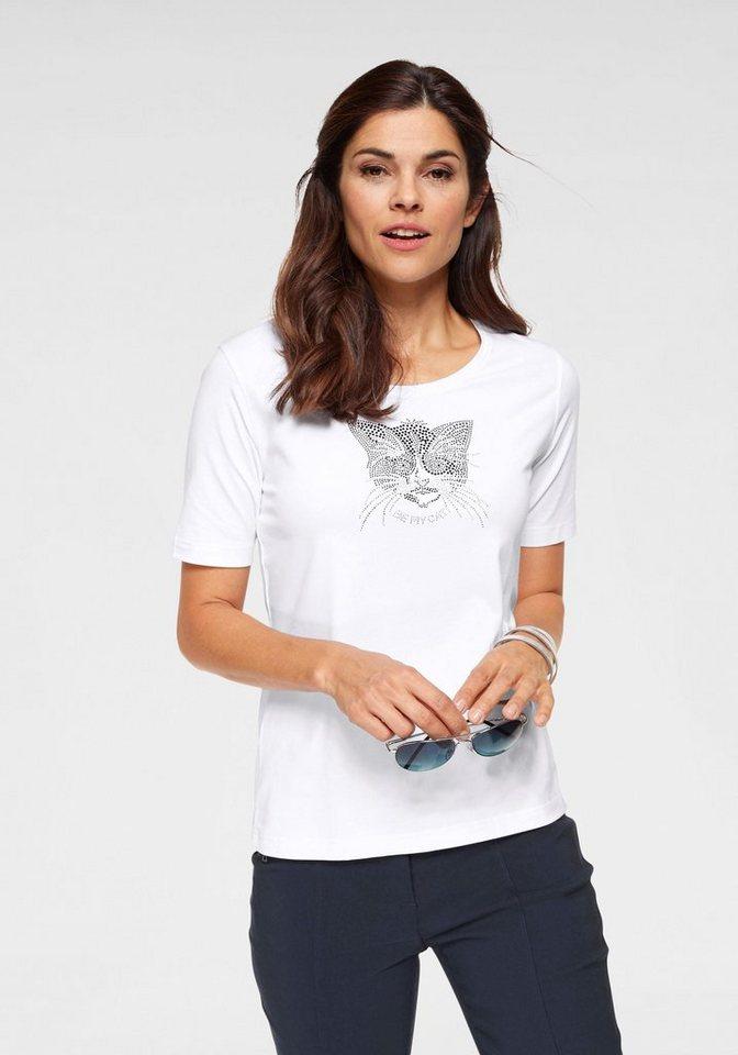 Clarina Rundhalsshirt mit Katzen-Applikation | Bekleidung > Shirts > Rundhalsshirts | Weiß | Clarina