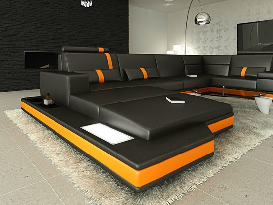 Sofa Dreams Wohnlandschaft »Messana«, U Form Ledersofa mit LED, wahlweise mit Bettfunktion als Schlafsofa, Designersofa