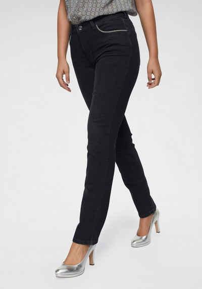 92558daf483213 MAC Straight-Jeans »Melanie Glam Chain« Perlenband-Besatz an den forderen  Taschen