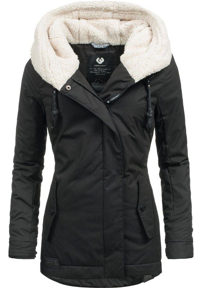 0b6841b5d5ab19 Damen Ragwear Wintermantel YM-Monica stylischer Winterparka m. großer  Teddyfleece Kapuze schwarz
