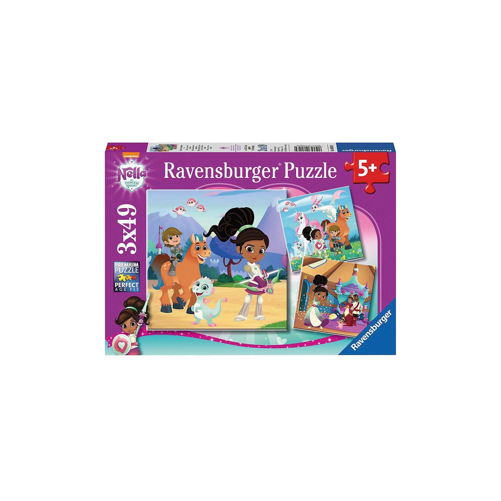 Ravensburger 3er Set Puzzle, je 49 Teile, 21x21 cm, Nella, die Ritterprin