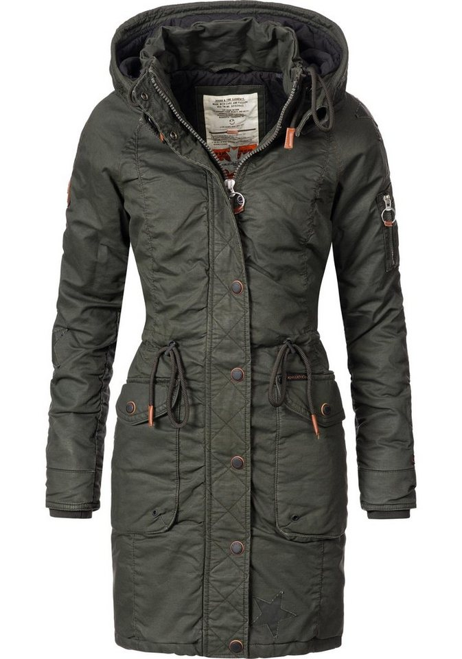 9fa22e940209 khujo Wintermantel »Mell« stylischer Parka in angesagtem Wet Look ...