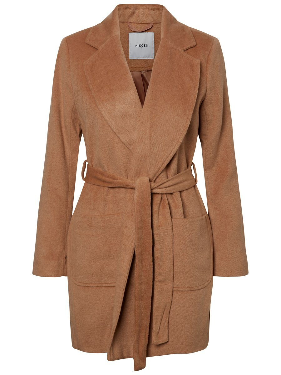 Pieces Einfarbiger klassischer Trenchcoat   Bekleidung > Mäntel > Trenchcoats   Polyester   pieces