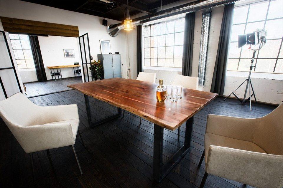 kawola essgruppe 7 teilig mit esstisch baumkante nussbaum u 6x stuhl cali stoff creme online. Black Bedroom Furniture Sets. Home Design Ideas