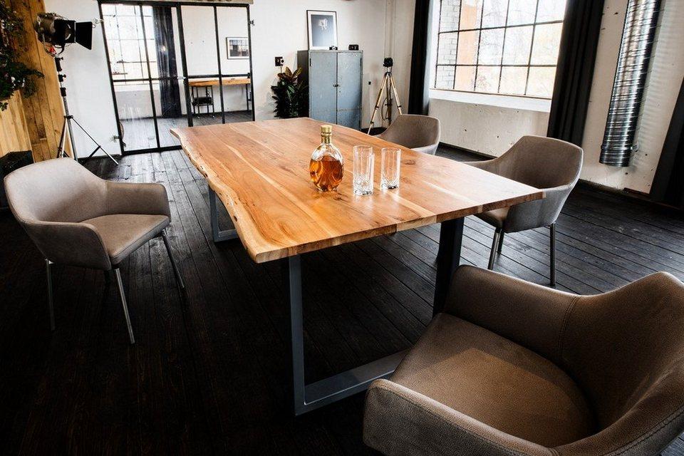 kawola essgruppe 7 teilig mit esstisch baumkante akazie u 6x stuhl loui mikrofaser hellgrau. Black Bedroom Furniture Sets. Home Design Ideas