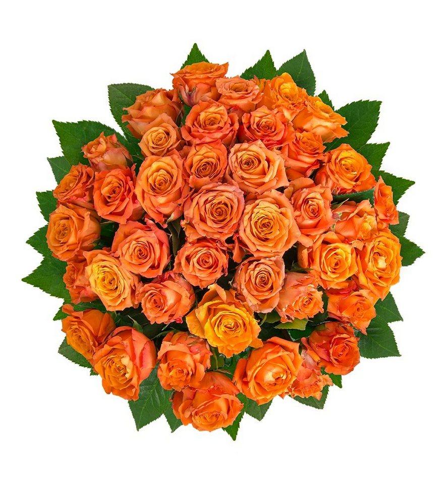 Flowrframe Blumenstrauß 40 Frische Orangene Rosen Mit Xl Blütenköpfen Online Kaufen Otto