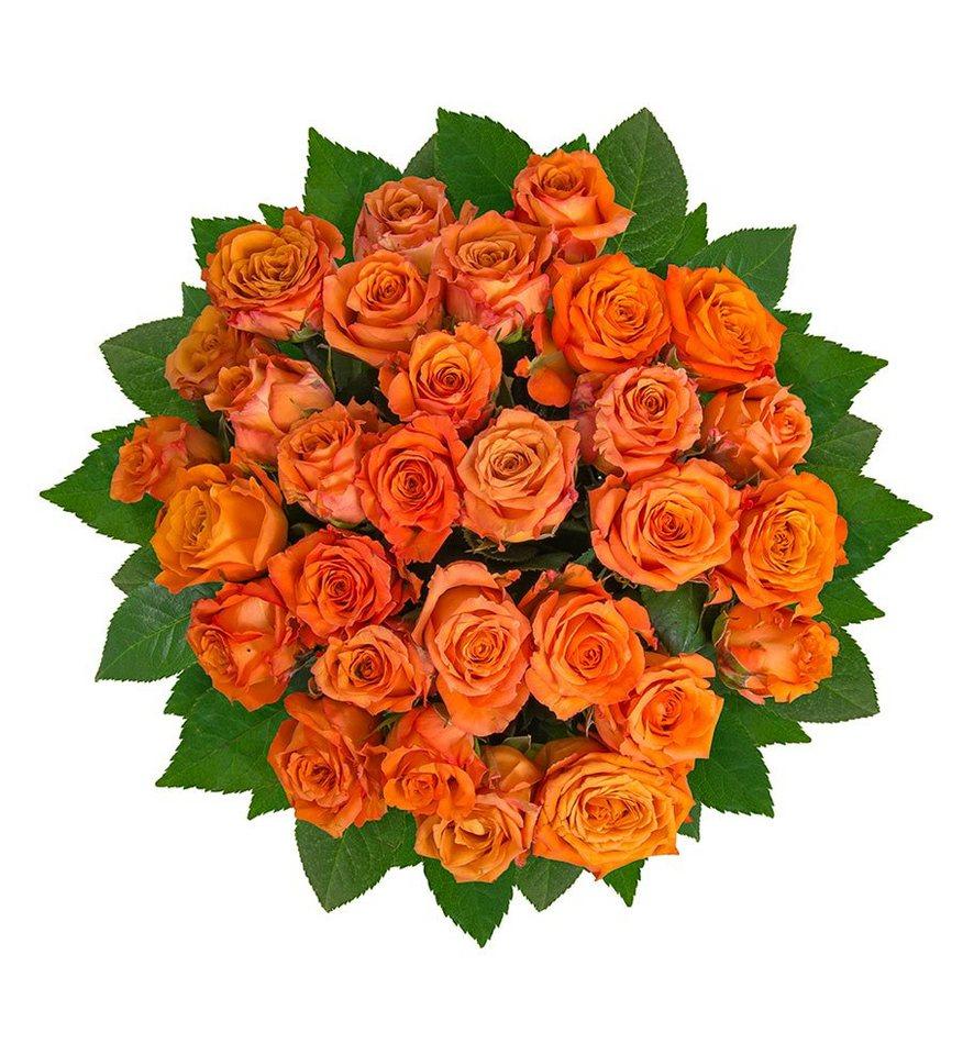 flowrframe blumenstrauß 30 frische orangene rosen mit xl