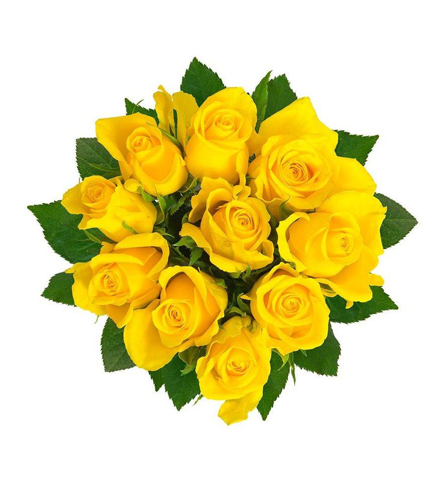 flowrframe blumenstrauß 10 frische gelbe rosen mit xl