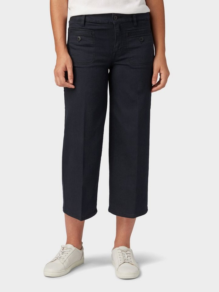 TOM TAILOR Weite Jeans »Culotte-Jeans in 7/8 Länge«   Bekleidung > Jeans > Weite Jeans   Schwarz   Jeans   TOM TAILOR
